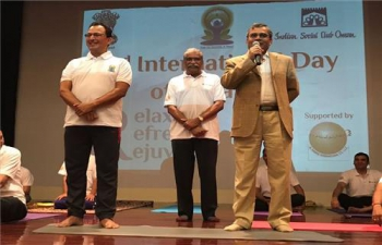 Ambassador was the Chief Guest at a Yoga Session, hosted by Indian Social Club, Oman at Embassy Auditorium on 9th June 2017.
