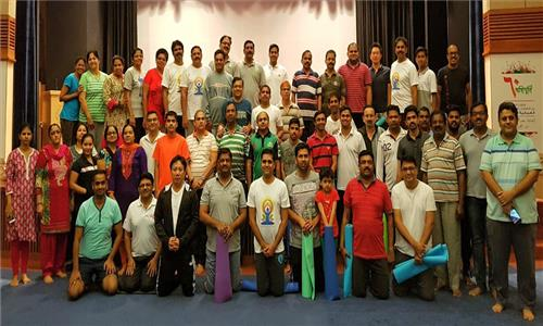 Yoga session by Sanskriti Yoga at Embassy Auditorium on 12th May 2017.