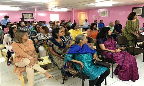 Mrs Sushma Pandey, wife of Ambassador of India, presided over the Speak Up, an English Language teaching programme for Camp workers organized by charity wing of Indian Social Club Oman