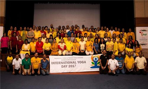 Pranayama - The Power of healing Yoga Session at Indian Embassy Auditorium by Shankara Yoga Group in Oman on 21st April 2017.