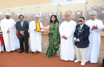Mrs. Sushma Pandey, wife of Ambassador of India to the Sultanate of Oman, was invited as the Chief Guest at the 71st Independence of India Hockey Festival