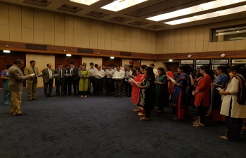 """All Officers and Staff members of Embassy of India, Muscat, took 'RashtriyaEktaDiwas (National Unity Day)"""" to Commemorate the birth Anniversary of SardarVallabhbhai Patel."""