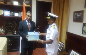 Visit of Indian Coast Guard Ship (ICGS) 'Samarth' to Muscat on a goodwill mission. Shri Indra Mani Pandey, Ambassador, hosted a reception on-board 'Samarth'. Commander of 'Samarth' called on Ambassador in his office.