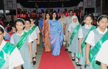 Mrs. Sushma Pandey, wife of Ambassador Indra Mani Pandey, was invited as Chief Guest to celebrate Annual Day of Indian School Al Ghubra Primary School.