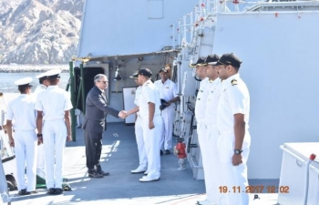 Ambassador visited INS Trikand which had called on Muscat Port during its visit to the Gulf region.