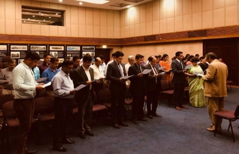 All Officers and Staff members of the Embassy of India, Muscat, together read the Preamble of the Constitution to celebrate the third 'Constitution Day'
