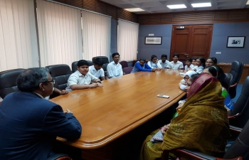 Students from Indian School Darsait, along with their teachers come to the Embassy to meet with Ambassador.