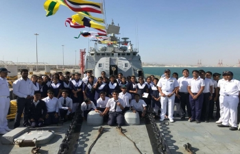Indian Embassy is celebrating Annual Navy Day with INS Trishul to Salalah. The Indian community in Salalah, including students from Indian School Salalah, have joined this celebration.