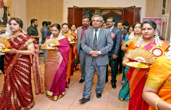 """Ambassador was invited as Chief Guest to the Inauguration of 6th Anniversary program 'Padmatheertham 2018"""" at Al Falaj Hotel. The event was also graced with the presence of The Prince of Travancore, His Highness Avittam Thirunal Adithya Varma, along with renowned South Indian Cine Artist Ms. Meena."""