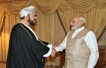 Honourable Prime Minister of India, Shri Narendra Modi, received on 12th February 2018, His Highness Sayyid Fahd bin Mahmoud Al Said, Deputy Prime Minister for Council of Ministers and His Highness Sayyid Asaad bin Tariq Al Said, Deputy Prime Minister for International Relations and Cooperation Affairs and Personal Representative of HM Sultan Qaboos.