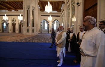 Shri Narendra Modi, Honourable Prime Minister of India, visited iconic Sultan Qaboos Grand Mosque. Known for its unique architecture, colourful mosaic patterns, rugs and chandeliers, it has used Indian stones carved by Indian mason. Open to non-Muslim visitors, it symbolizes the respect for other religion.