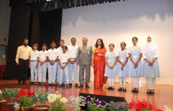 Embassy of India, celebrates #69thRepublicDay of India. Ambassador hoisted the National flag and read out President's Address to the Nation on eve of the Republic day. Students from Indian School Maabela led a gathering of over 500 members of Indian Community in Oman, in singing National Anthem and patriotic songs.