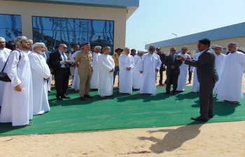 Ambassador visited Duqm on 19-20 February 2018 to visit Sebacic Oman SAOC Plant set up by an Indian Joint Venture in Duqm. He was joined by HE Yahya bin Said bin Abdullah al Jabri, Chairman of Special Economic Zone Authority of Duqm, and Managing Director of M/s Sebacic Oman, Shri Pradeep Nair. This is the first investment by an Indian company in a manufacturing plant in Duqm. It is also the first manufacturing plant ready to be commissioned in Special Economic Zone of Duqm. Ambassador also visited an exhibition of sculptures created by Indian artists from scraps. These beautiful sculptures will be used to decorate various public squares in Duqm.