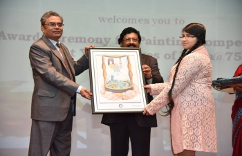 In celebration of 70 years of India's Independence, Embassy in collaboration with Bhavalaya, organized a painting competition for students of Indian Schools in Oman to paint their image of 'India@75'. 16 Indian Schools participated in the painting competition. A ceremony was held on 10th May 2018, at Embassy premises, to award the best paintings and felicitate students who participated in the painting competition