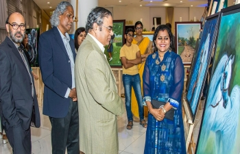 "H. E. Indra Mani Pandey, Ambassador of India to the Sultanate of Oman, was invited as Chief Guest on 12th April 2018, to the inauguration of ""Glimpses of Mind"" Paintings and Sculpture Exhibition in Oman Avenue Mall, which was organized by 'Mind Muscat'- a group of Indian Artists."
