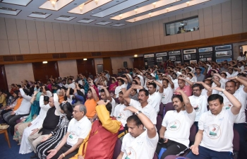 Embassy of India organized a 'Conclave of Yoga Organizations' on 6 April 2018, as a curtain raiser to the 4th International Day of Yoga, which will be celebrated on 21 June 2018. A number of Yoga Organizations from Oman and Yoga Teachers participated in the Conclave and introduced their Organizations and explained their unique forms of Yoga to the audience.