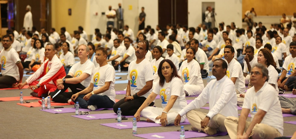 Celebration of 4th International Day of Yoga on 21 June 2018 with a mega yoga session at Oman Convention & Exhibition Centre