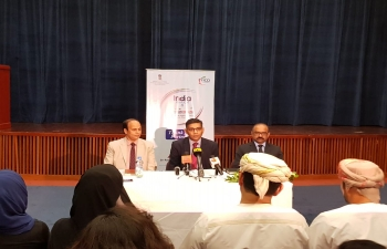 Ambassador Munu Mahawar, addressed the media organizations in Oman, during a Press Interaction on participation of about 47 Indian healthcare institutions in Oman Health Exhibition, and launch of #AyushmanBharat in India, by Hon'ble Prime Minister at Embassy premises on 23 September 2018. The Embassy would also like to thank all friends from media organizations in Oman, who attended a Press Interaction.