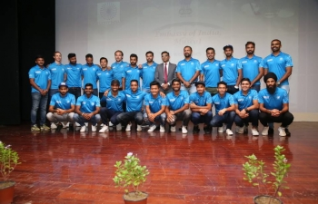 Ambassador hosted a reception in honour of the Indian National Hockey Team at the Embassy premises on 22.10.2018.