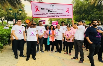 An Indian Embassy team, led by Ambassador, is joining the 15th #Annual_Walkathon now in support of Oman Cancer Association in its fight against cancer.