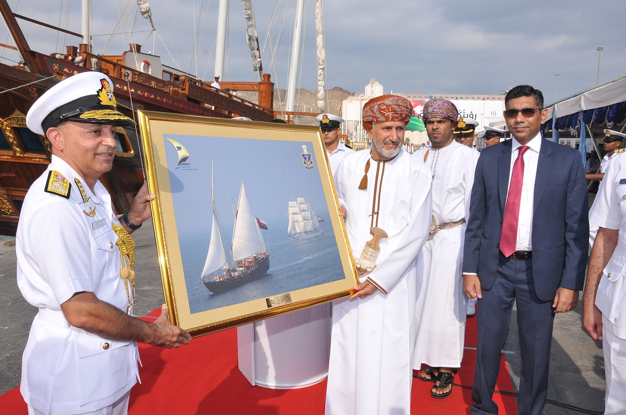 Reception of ships joining tall ship sailing as part of celebration of 10th anniversary of IONS. Royal Yacht Zinat al Bahr, INS Tarangini & INS Sudharshini sailed from Kochi, re-tracing the ancient maritime trade routes, and arrived at Port Sultan Qaboos.