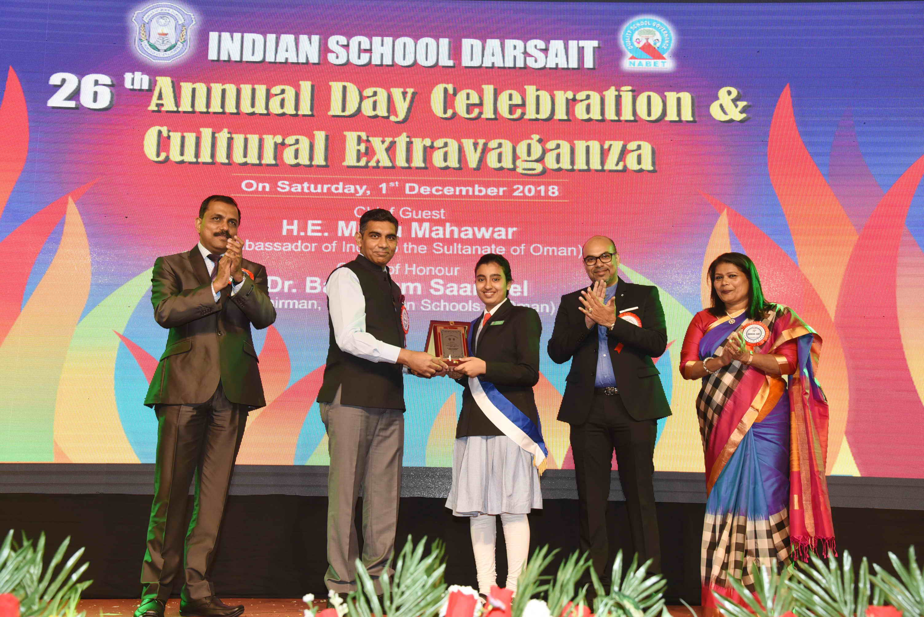 Ambassador was the Chief Guest at the Annual Day of Indian School Darsait, held on Saturday, 1st December 2018.