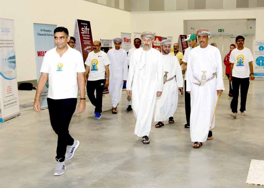 Grand Yoga Day 2019 celebrations at Muscat. Over 6000 Yoga enthusiasts of more than 20 nationalities participated, making it one of the largest single location gatherings outside India.