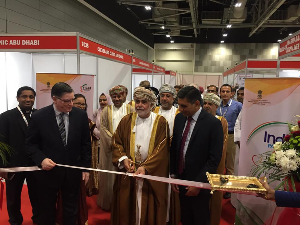 India Pavilion at Oman Health Exhibition & Conference was inaugurated by HE Dr. Sultan Al Busaidi, Advisor to Minister of Health, Oman in presence of Ambassador Munu Mahawar and Mr. Dilip Chenoy, Secretary General.